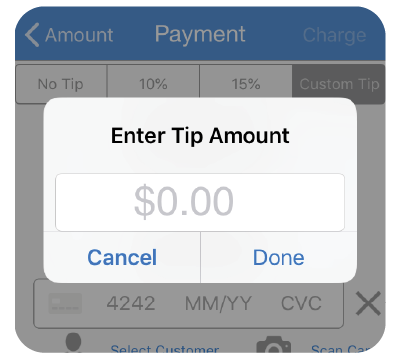 A mobile payment app for Stripe that lets you accept credit card payments with tips